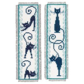 VER Lesezeichen Fröhliche Katzenbande Aida 2er Set