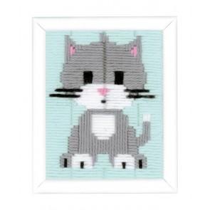 VERVACO Spannstichbild - Graues Kätzchen