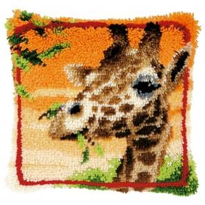 VER Knüpfkissen Giraffe isst Blätter