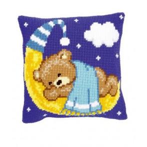 VER Kreuzstichkissen Teddy auf Mond - blau