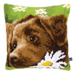 VER Kreuzstichkissen Brauner Labrador