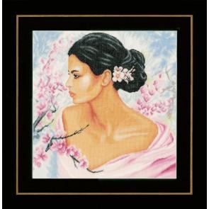LAN. Zählmusterpackung Frau mit Blüten 40x41cm