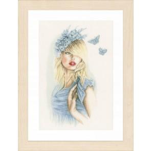 LAN. Zählmusterpackung Blaue Schmetterlinge 30x46cm