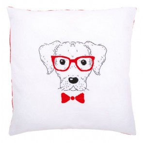 VER Stickkissen mit Kissenrücken Hund mit Brille