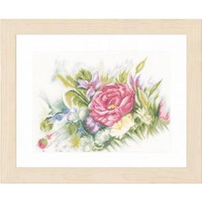 LAN Blumen in Aquarellstil Leinen 12 Fd/1 cm Ecru