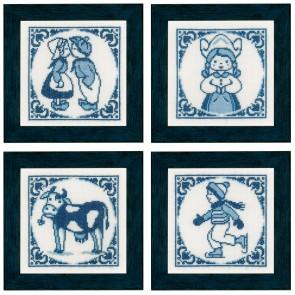 LAN. Zählmusterpackung Delft Blau 4er Set 12x12cm