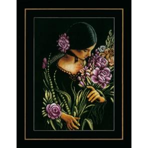 LAN. Zählmusterpackung Frau mit Blumen 34x49cm