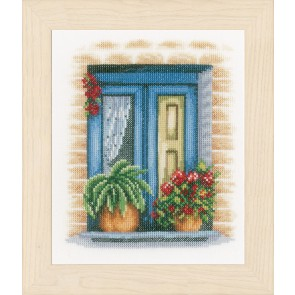 LAN. Zählmusterpackung Blaues Fenster 18x21cm