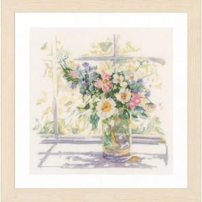 LAN. Zählmusterpackung Blumen in zartem Licht 29x29cm