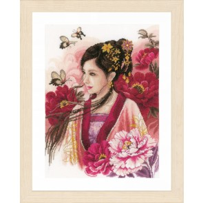 LAN. Zählmusterpackung Asiatische Frau in Pink 30x41cm