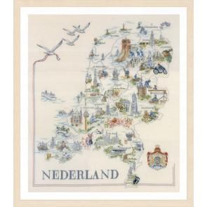 LAN. Zählmusterpackung Landkarte der Niederlande 66x69cm