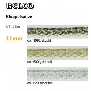 Klöppelspitze 11mm, Lurex    100%Bw.