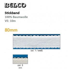 Stickband (Aidabd.) Wellenrand; 100%Bw.