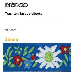 Trachten-Jacquardborte, 25mm, Edelweiß