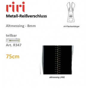 Reißv.RIRI Metall 8 altmessing sep#