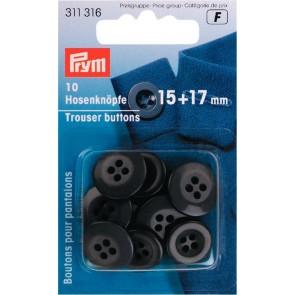 P/SB Hosenknöpfe 15+17mm dunkelgrau #