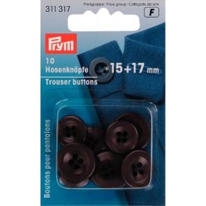 P/SB Hosenknöpfe 15+17mm dunkelbraun #