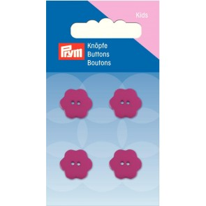 P/SB Knopf 2-Loch Blume pink 15 mm #