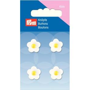 P/SB Knopf Ösen Blume gelb/weiß 14 mm #