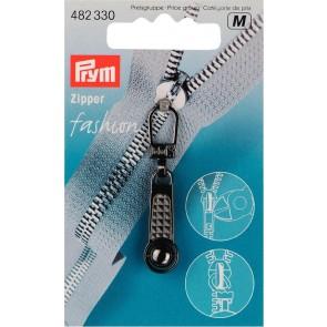 P/SB Fashion-Zipper Kugel stahlfarbig