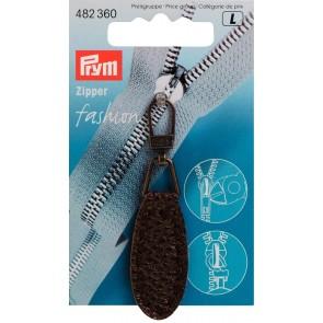 P/SB Fashion-Zipper Lederimitat oval dunkelbraun #